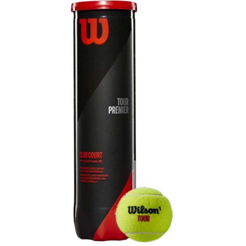 Купить Мячи для большого тенниса Wilson Tour Premier Can Clay WRT119600, 4 мяча, желтый,