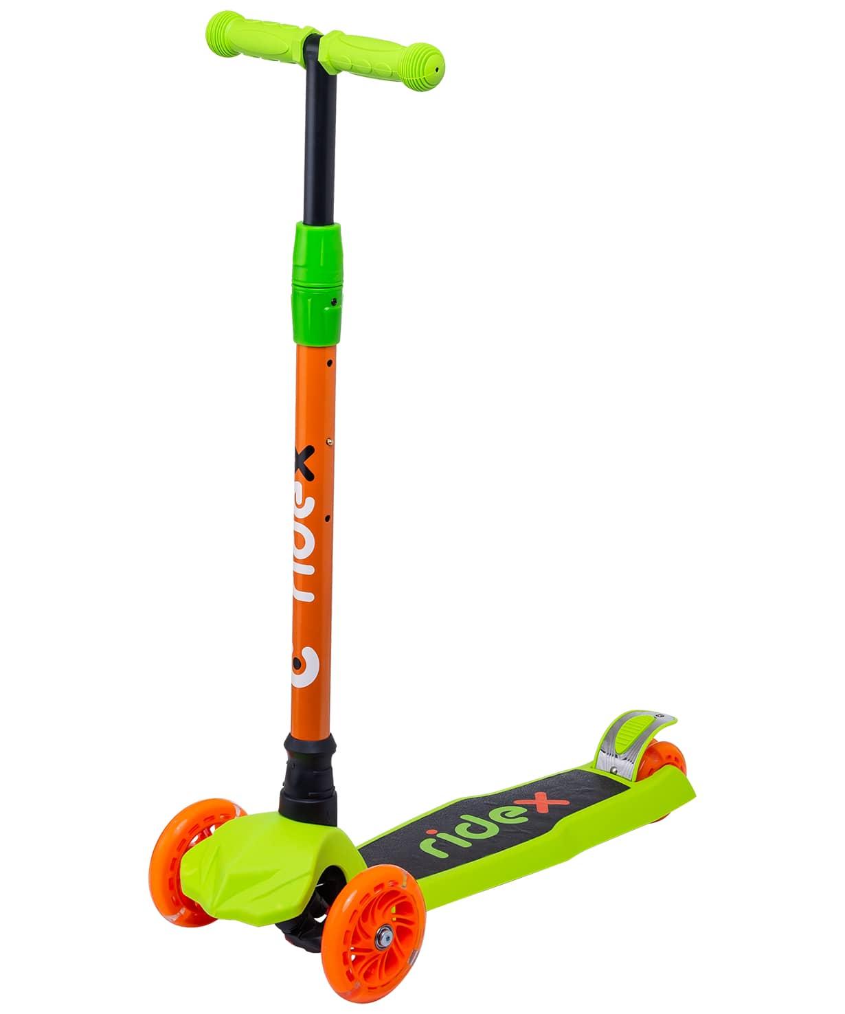 Купить Самокат 3-колесный Ridex Chip d120/80 мм, оранжевыйзеленый,