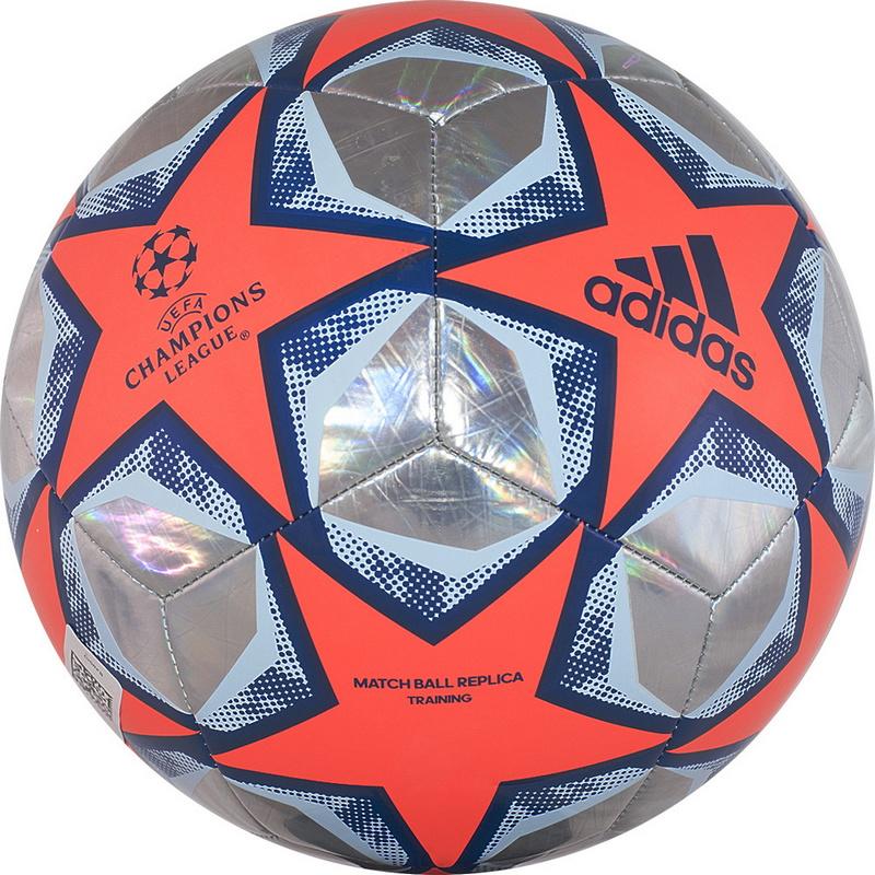 Купить Мяч футбольный Adidas Finale 20 Training Foil FS0261 р.5 оранжево-серебристо-синий,