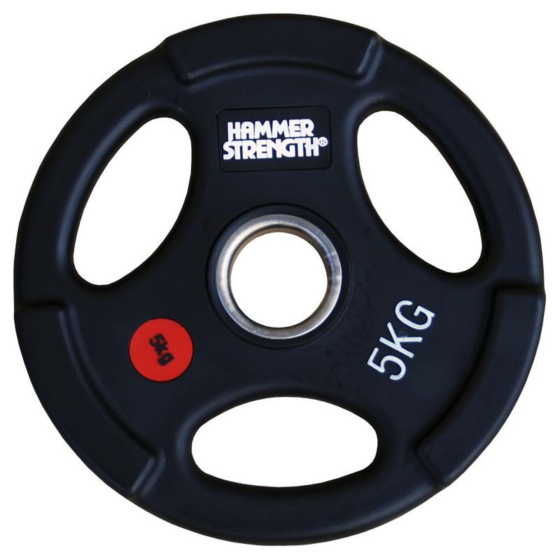 Купить Диск олимпийский обрезиненный с 3-мя хватами d51мм Hammer WP074B 5кг черный,