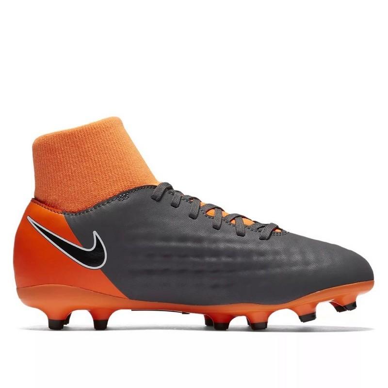 Бутсы футбольные Nike Obra II Academy DF FG Ah7313-080 JR детские т.сер/оранж
