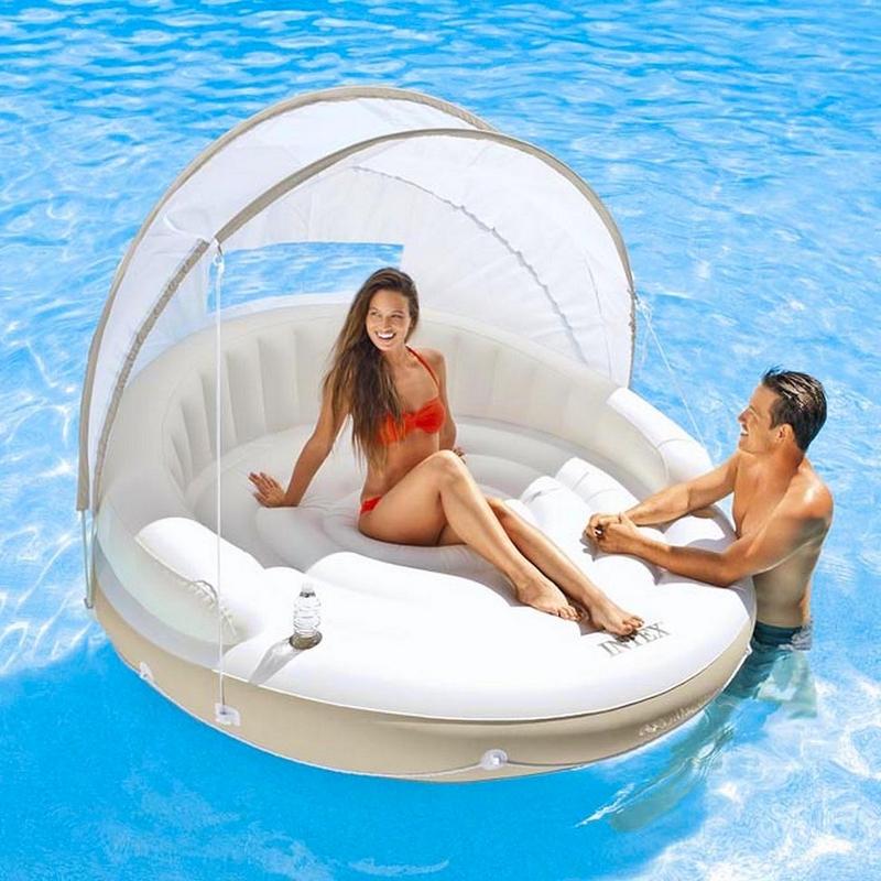 Купить Надувной круг-шезлонгсо сьемным навесом Intex 58292,