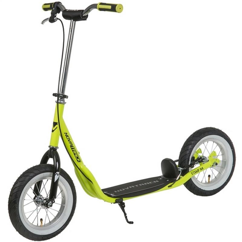 Купить Внедорожный самокат Novatrack Stamp N4 12 (надувные колеса), тормоза V-brake, дропаут 12STAMPN4.LM20 зеленый,