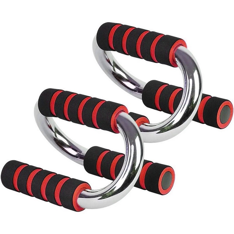 Купить Упоры для отжимания хром B34502 красный, NoBrand