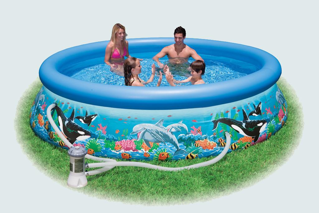 Надувной бассейн с рисунком 366х76см + помпа-фильтр Intex 28136