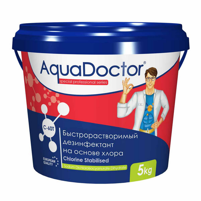 Купить Хлор, 5кг ведро, табл.20гр, быстрорастворимый, на основе 60% активного хлора AquaDoctor AQ2508,
