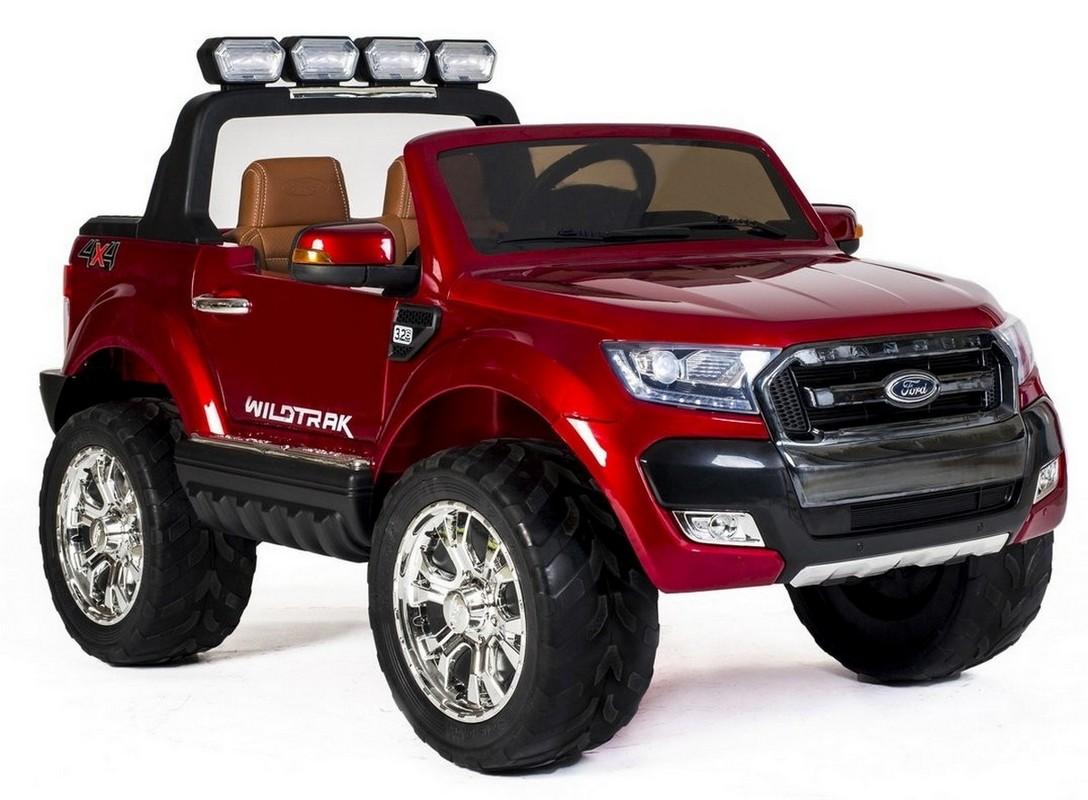 Купить Электромобиль River-Toys New Ford Ranger 4WD с пультом ДУ вишневый глянец, Детские электромобили