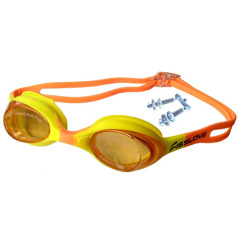 Купить Очки для плавания детские R18165 JR (желто-розовые), NoBrand