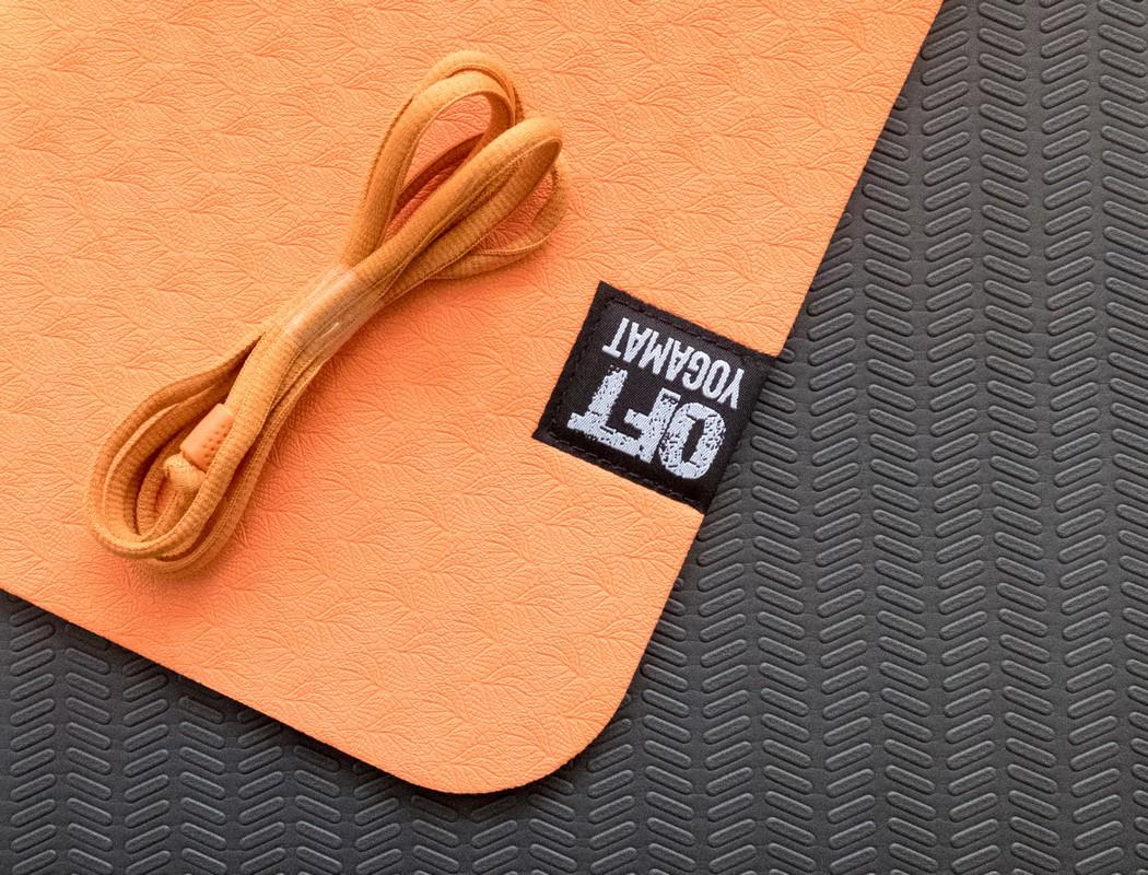 Мат для йоги Original Fit.Tools FT-YGM6-2LT-ORANGE-BK оранжевый-черный