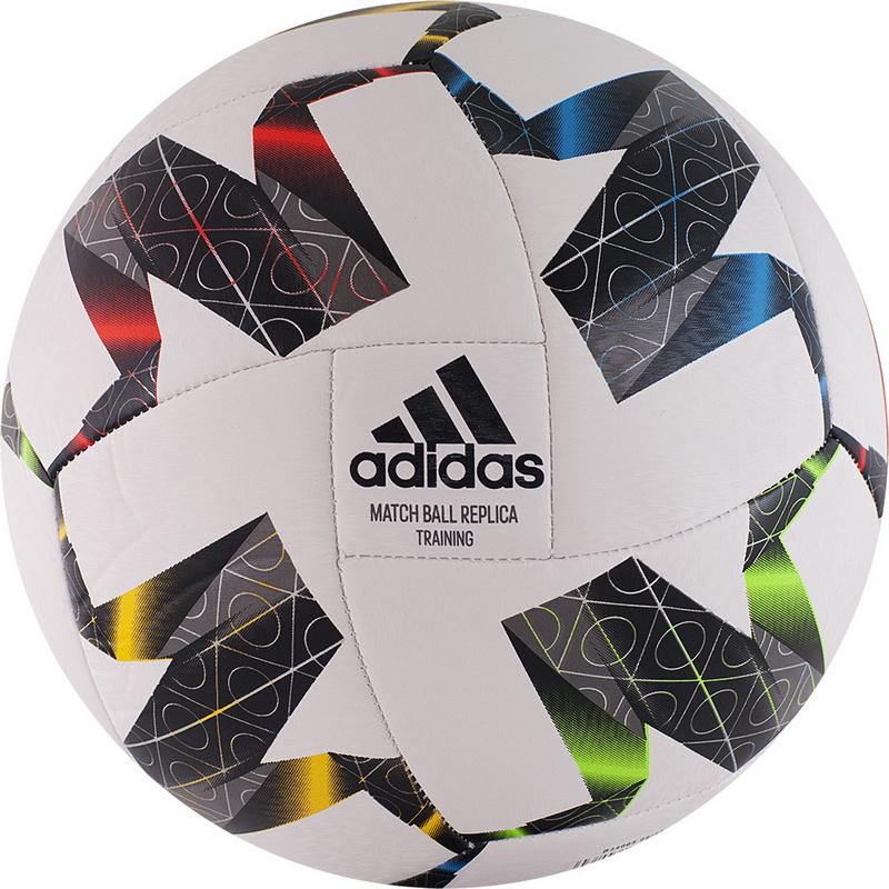 Купить Мяч футбольный Adidas UEFA NL TRN FS0204 р.4 бело-черно-мультиколор,