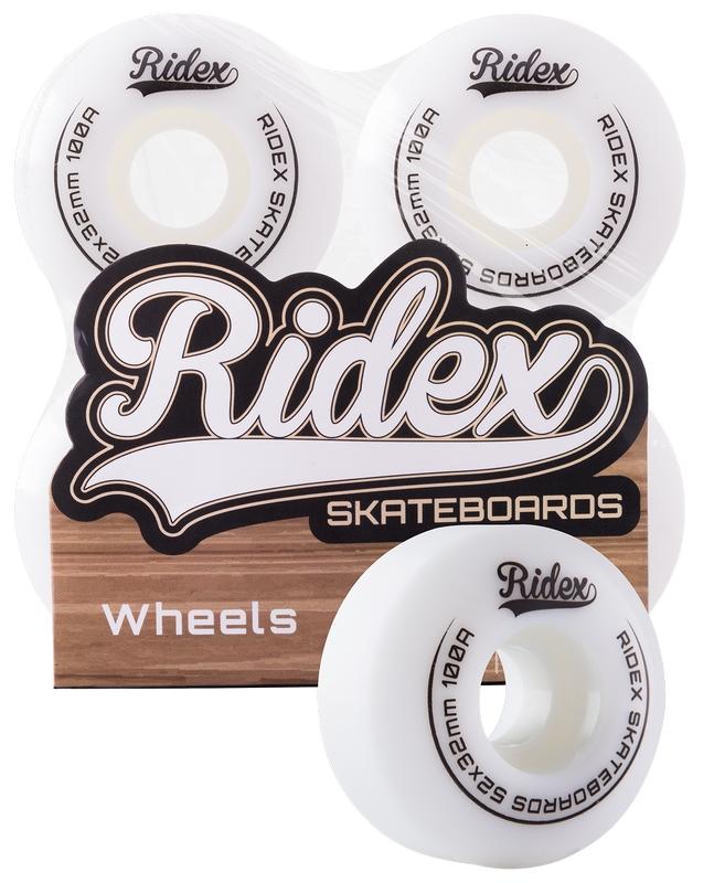 Комплект колес для скейтборда Ridex SB, 100А, 52x32мм, белый, 4 шт.