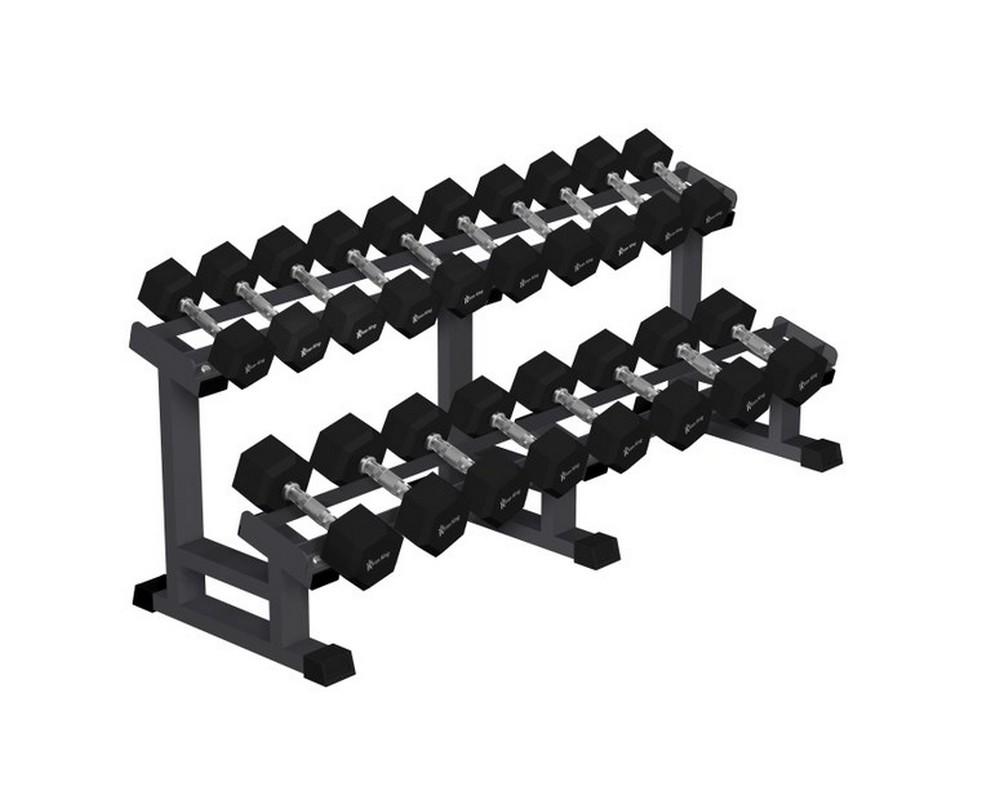 Стойка для гексагональных гантелей Iron King 9 пар,12,5-32,5 кг (шаг 2,5 кг) IK 224