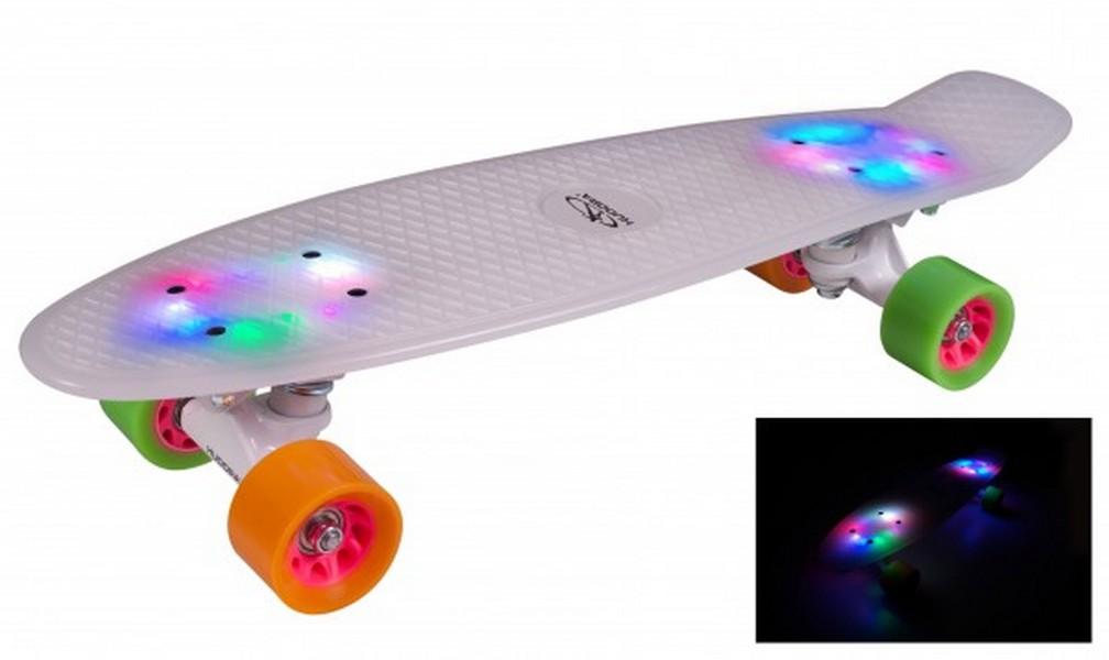 Скейтборд Hudora Skateboard Retro rainglow 22 quot; с подсветкой (12134) скейтборд с какого возраста можно начинать