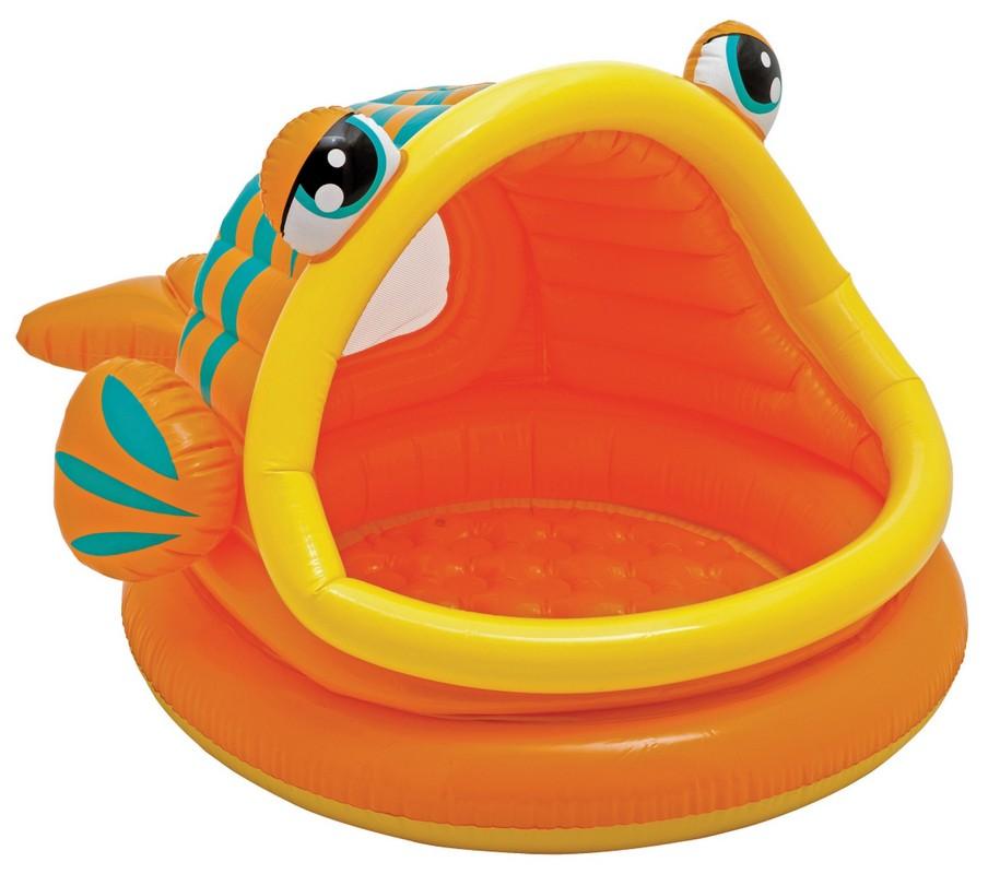 Купить Бассейн Рыбка с навесом 124х109х71см Intex 57109, Детские надувные бассейны