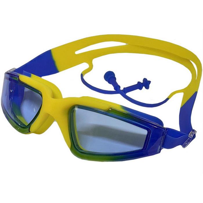 Купить Очки для плавания с берушами B31545-5 ЖелтыйСиний, NoBrand