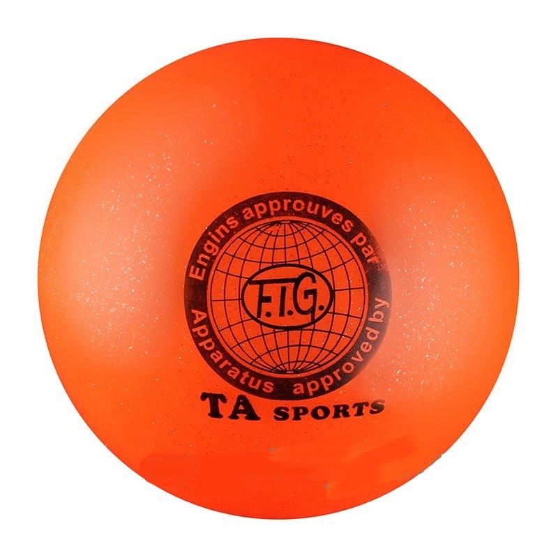 Купить Мяч для художественной гимнастики Indigo D=19 см (с блестками) оранжевый,