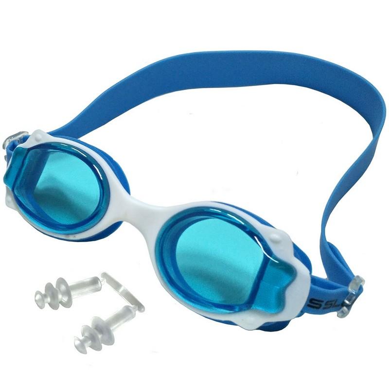 Купить Очки для плавания JR R18164-1 голубой-белый, NoBrand