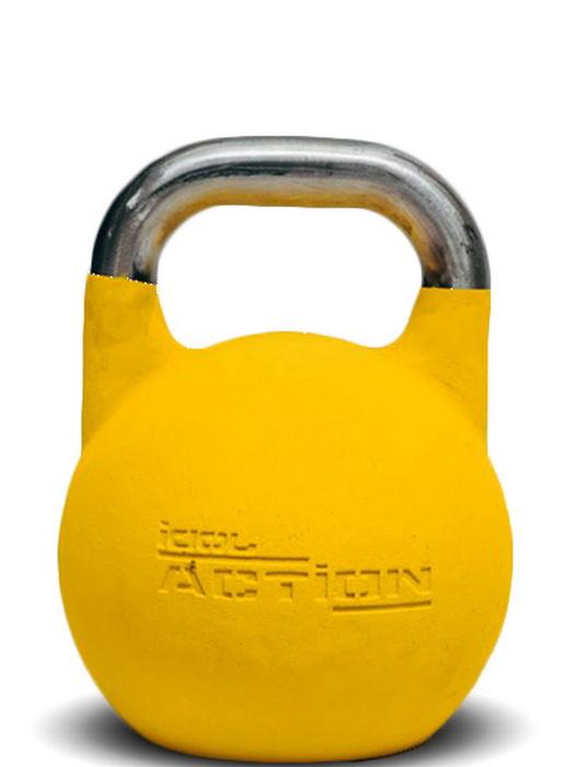Гиря стандарт c хромированной ручкой IDOL Action 16 кг, желтая фото