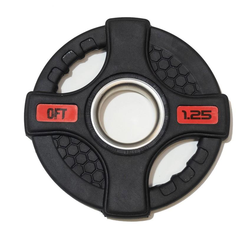 Диск олимпийский обрезиненный Original Fit.Tools с двумя хватами 1,25 кг FT-2HGP-1,25 черный,  - купить со скидкой