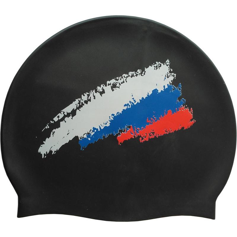 Купить Шапочка для плавания силиконовая SR Черная с принтом РФ Флаг 007C-1 CPT-007C-1, NoBrand
