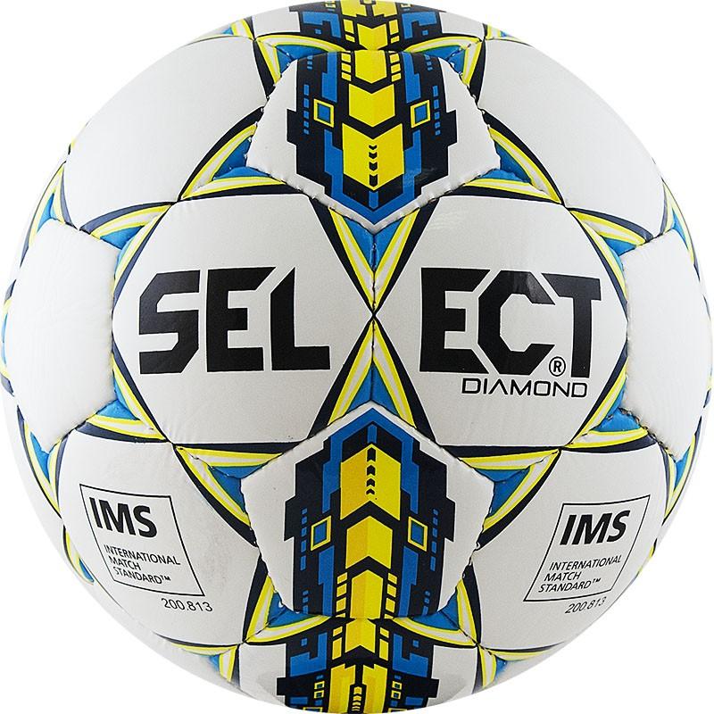 Мяч футбольный Select Diamond (р.5) тренировочный, сертификат IMS, бел/жел/син. мяч футзальный select futsal talento 11 852616 049 р 3