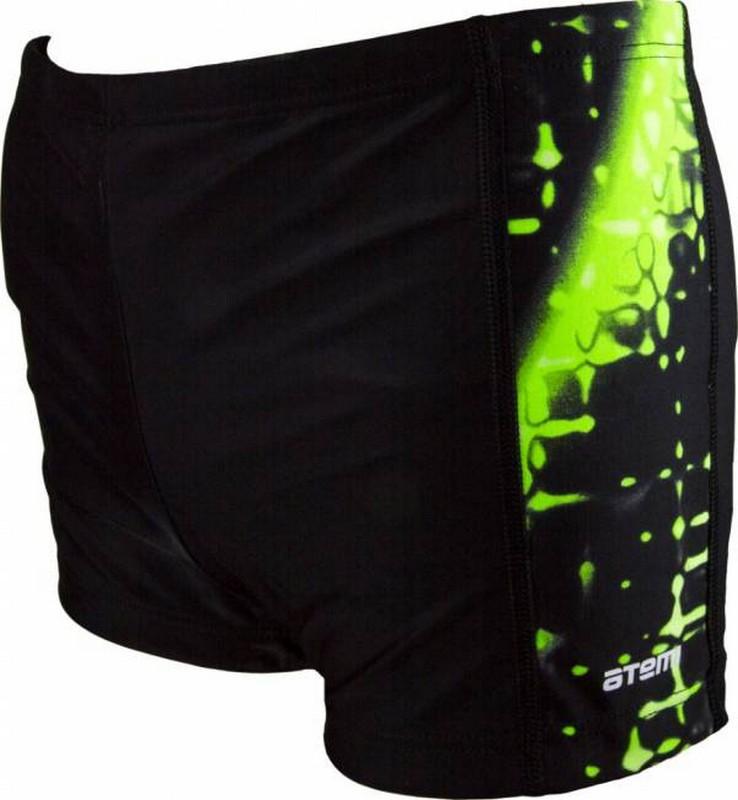 Плавки-шорты Atemi М8 37 мужские для бассейна, принт. вставки, черный/зеленый цена