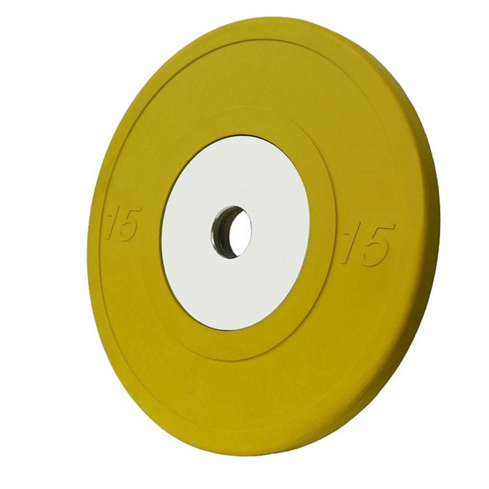 Купить Диск обрезиненный Vertex Crossfit D50мм 15 кг., жёлтый,