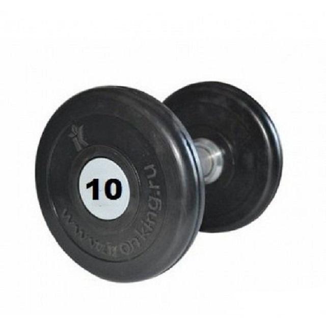 Купить Гантель профессиональная хром/резина 10 кг. Iron King IK 500-10,