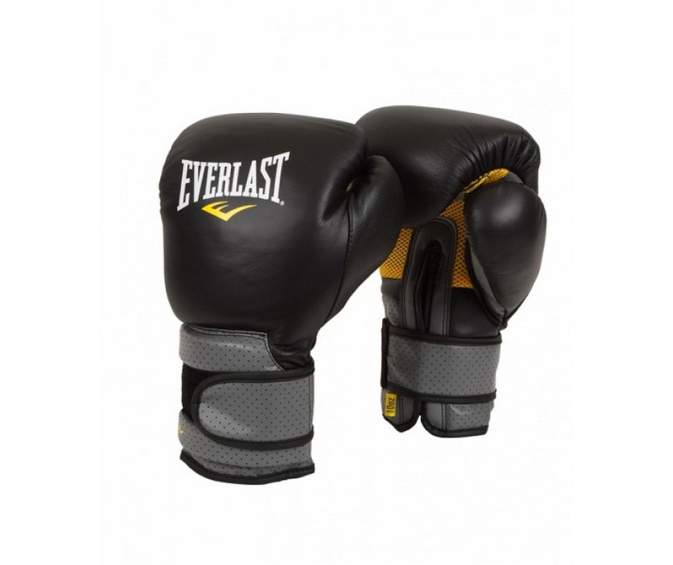 Перчатки тренировочные Everlast Pro Leather Strap 14 oz черный 691401 фото