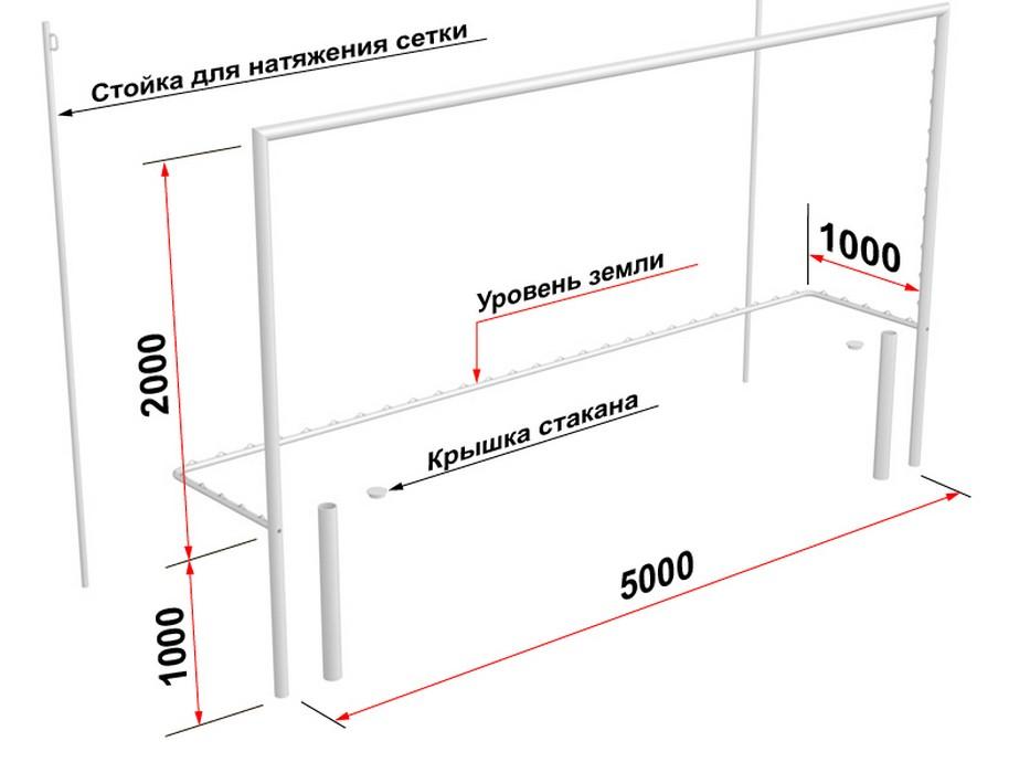 Купить Ворота футбольные Glav со стойками натяжения сетки, разборные (2х5 м) 15.105.1 шт,