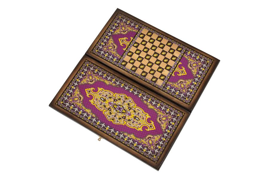 Купить Нарды + Шашки Сирия Фиолетовые большие (Россия, дерево, 60х30х4 см), NoBrand, Шахматы, шашки, нарды