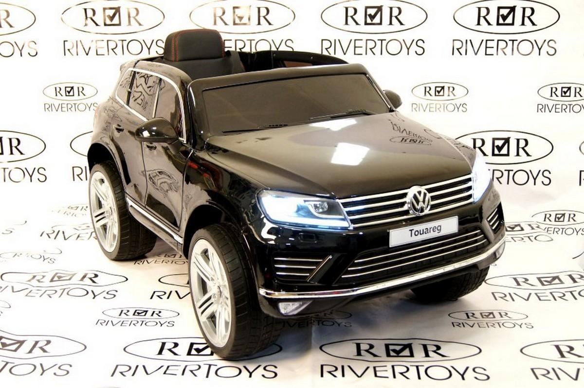 Купить Электромобиль River-Toys Volkswagen Touareg с пультом ДУ черный глянец, Детские электромобили