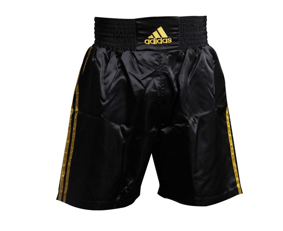 Шорты боксерские Adidas Multi Boxing Shorts черно-золотые adiSMB01 шорты adidas боксёрские боксерские amateur boxing shorts красные размер s артикул aditb152