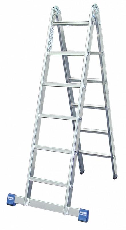 Шарнирная двухсекционная лестница Krause STABILO 2х6 перекладин, 355 см 123534 лестница krause tribilo 121226